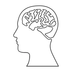 monochrome silhouette of human head with brain vector illustration