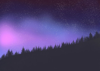 Starry sky in the forest. Digital painting.