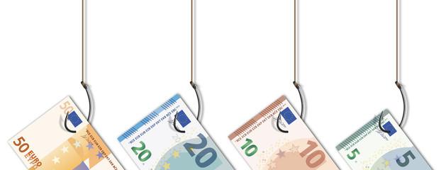 Hameçon - billet de banque - argent - piège - appât - corruption