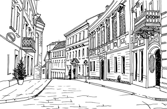 Old city street in hand drawn sketch style. Small European city. Urban landscape on white background