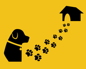 Dog with paw trail and house. Search home. Flat style.