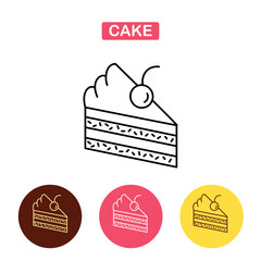 Piece of cake  line icon.  Flat vector illustration.