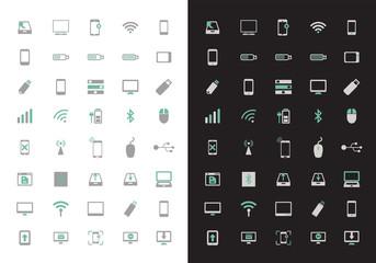 Cute technological icon set. Cute colors.
