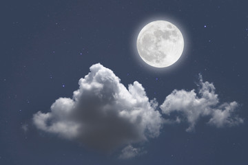 Romantic night with full moon in space over stars with cloudscape background. wonderful night.