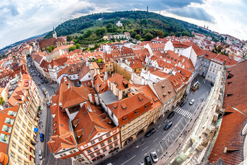 Panoramic rooftop view over Prague, Czech Republic