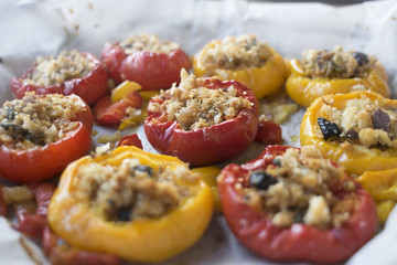 bell peppers filled with spiced breadcrumb