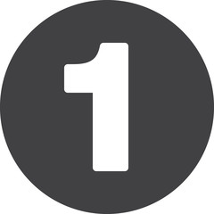 Number 1 flat icon, circular sign, round button one