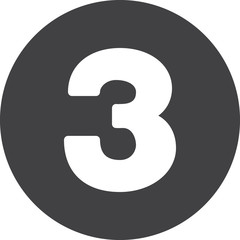 Three, Number 3 flat icon, circular sign