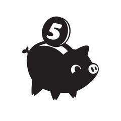 Piggy bank icon. Flat vector symbol