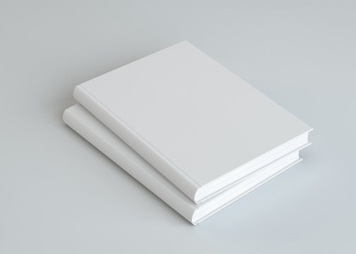 Two empty white books