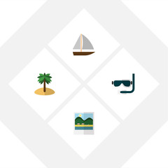 Flat Hot Set Of Scuba Diving, Reminders, Yacht And Other Vector Objects. Also Includes Yacht, Vessel, Boat Elements.