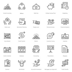 Banking and Finance Line Vector Icons 16