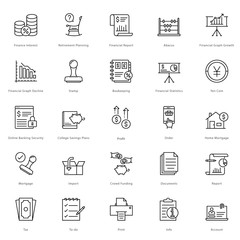 Banking and Finance Line Vector Icons 17