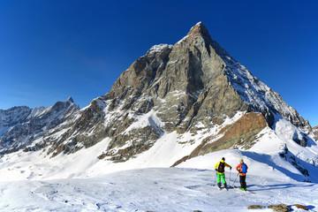 Free rider ski with Matterhorn (Cervino) on background, valtournenche, Aosta Valley, Italy