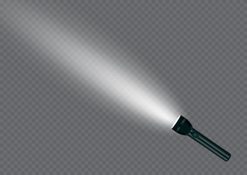 flashlight on a transparent background.Shine.lighting the space.metal