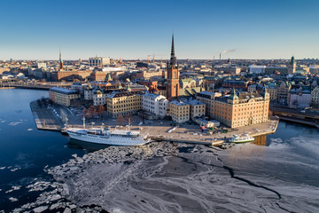 Stockholm Riddarholmen from air on a sunny spring morning