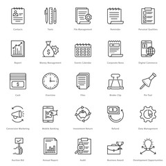 Banking and Finance Line Vector Icons 24