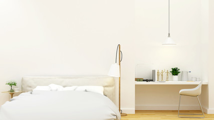 white bedroom and workspace clean design - 3D Rendering