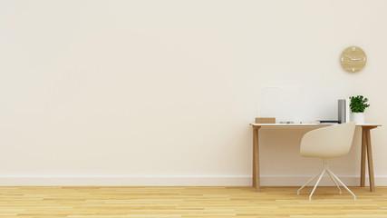 workspace in white room clean design - 3D Rendering
