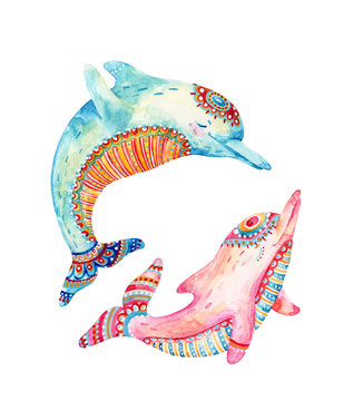 Watercolor pair of lovely dolphins isolated on white background.