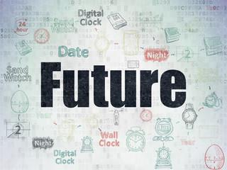 Timeline concept: Future on Digital Data Paper background