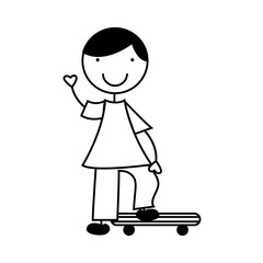cute little boy with skate board character vector illustration design