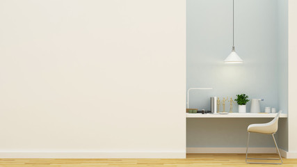 workspace pastel blue design - 3D Rendering