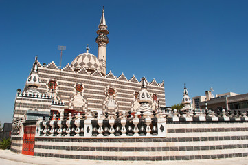 Giordania, Medio Oriente, 03/10/2013: vista della Moschea di Abu Darwish, costruita nel 1961 ad Amman in marmo bianco e nero