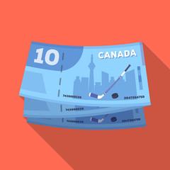 Canadian Dollar. Canada single icon in flat style vector symbol stock illustration web.