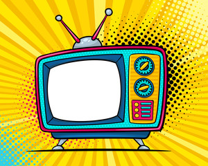 Hand drawn comic retro TV set with place for text on screen on halftone and dots. Vector colorful background in pop art retro comic style.