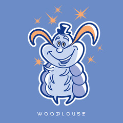 Vector illustration of funny insects in cartoon style. One wood louse stands with a hat, a mustache and several stars. Image in blue and orange colors.