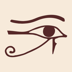 Egyptian symbol of the eyes god Ra. Vector image.
