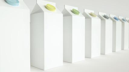 Milk or juice boxes template 3D Rendering