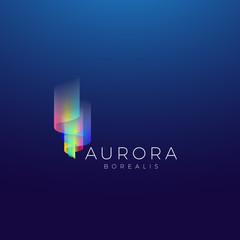 Aurora Borealis Abstract Vector Sign, Emblem or Logo Template. Premium Quality Symbol on Dark Background