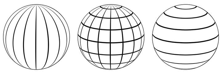 Set spheres globe earth grid, latitude longitude