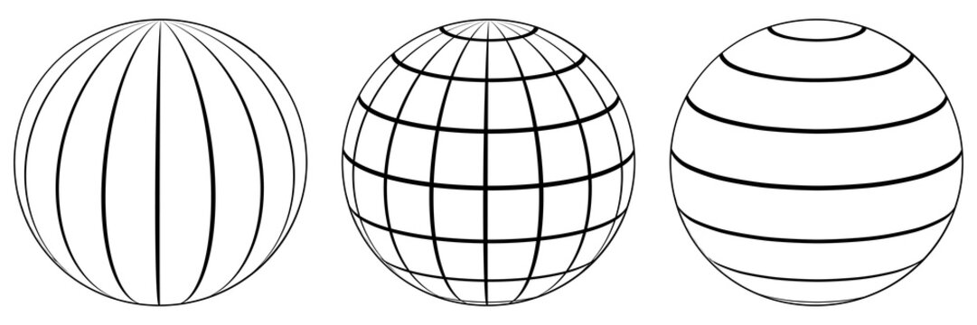 Set spheres globe earth grid, latitude longitude