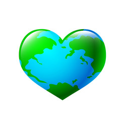 A world globe in the shape of a heart symbol. Concept for loving travel, or loving the world and caring for the environment.