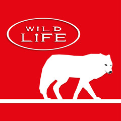 """A wolf on a red background with the inscription """"wild life"""". Vector illustration."""