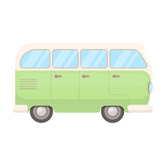 Green bus.Hippy single icon in cartoon style vector symbol stock illustration web.