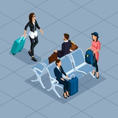 Trendy People Isometric vector 3D businessman, business woman, young woman, at the airport, waiting room, shops, luggage, travel, vacation, passengers