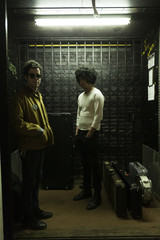 Young musicians in an elevator