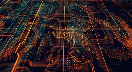 Printed circuit board futuristic server/Circuit board futuristic server code processing. Orange,  green, blue technology background