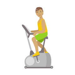 Young brunette male is working out in a cycling gym. Colorful cartoon character