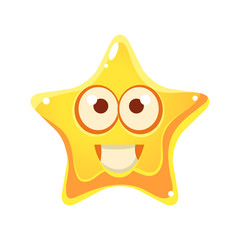 Yellow star with smiling face and big eyes, cartoon character