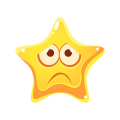 Emotional face of yellow star, sad and unhappy, cartoon character