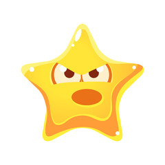 Yellow star with emotional face angry and screaming, cartoon character