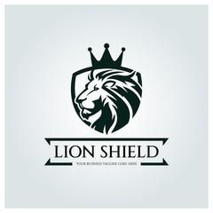 Lion Shield Logo Design Template Element For The Brand Identity Vector Illustration