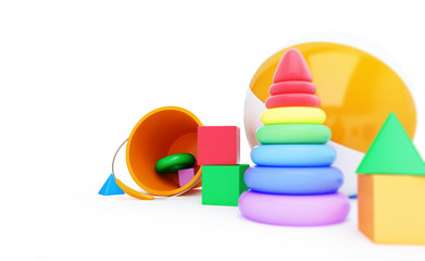 Toys alphabet cube, beach ball, pyramid 3D illustration