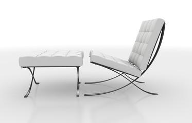 Weisser Stuhl mit Hocker-19