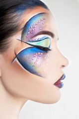 woman face with colorful make-up